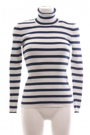 Selected Femme Coltrui wit-blauw gestreept patroon casual uitstraling