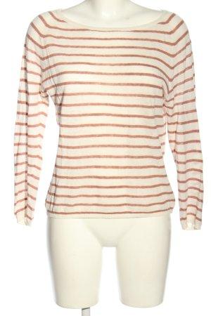 Selected Femme Rundhalspullover weiß-braun Streifenmuster Casual-Look