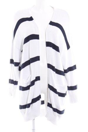 Selected Femme Strick Cardigan weiß-dunkelblau Streifenmuster Casual-Look