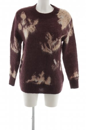 Selected Femme Strickpullover braun-wollweiß abstraktes Muster Casual-Look