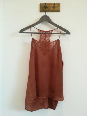 Selected Femme Top di merletto arancione scuro-ruggine Poliammide