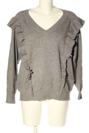 Selected Femme V-Ausschnitt-Pullover hellgrau meliert Casual-Look