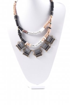 Selected Halskette schwarz-weiß abstraktes Muster Casual-Look