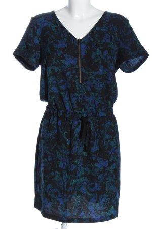 Selected Kurzarmkleid blau-schwarz abstraktes Muster Casual-Look