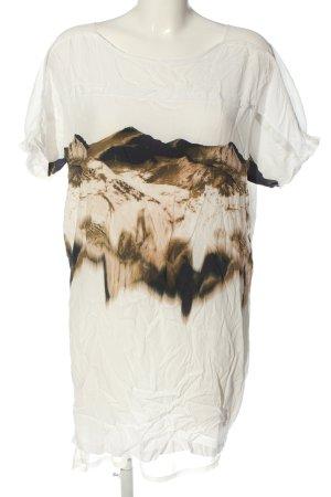 Selected Vestido de manga corta blanco-marrón estampado temático look casual