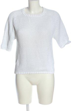 Selected Pull à manches courtes blanc torsades style décontracté