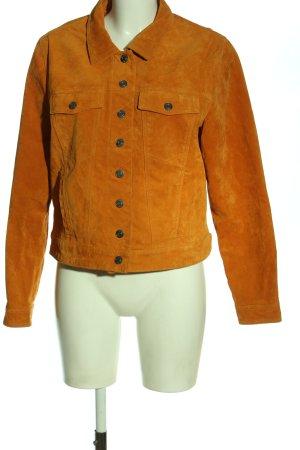 Selected Skórzana kurtka jasny pomarańczowy W stylu casual