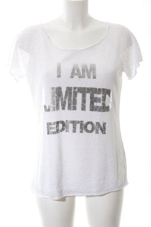 Selected Print-Shirt weiß-hellgrau Motivdruck Casual-Look