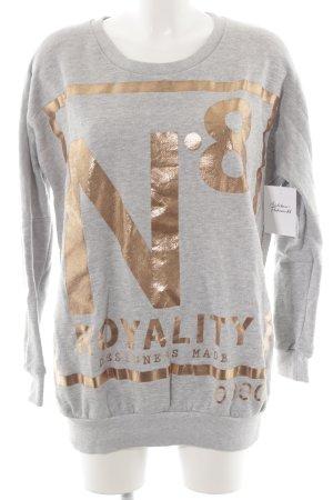 Selected Sweatshirt hellgrau-roségoldfarben Motivdruck Glanz-Optik