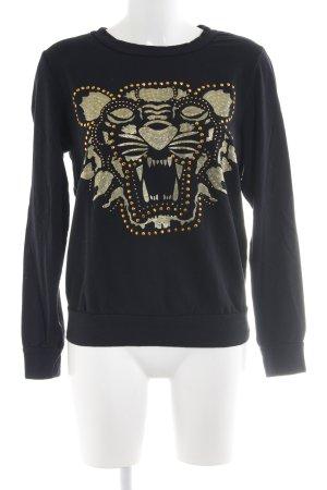 Selected Sweatshirt schwarz-goldfarben Motivdruck Casual-Look