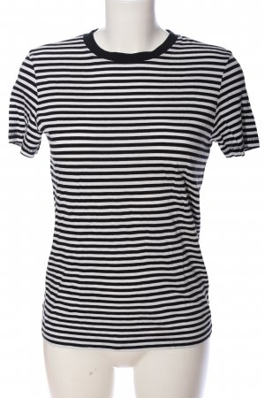 Selected T-Shirt schwarz-weiß Streifenmuster Casual-Look