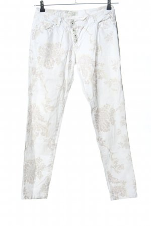 Selected Touch Five-Pocket Trousers white-natural white allover print