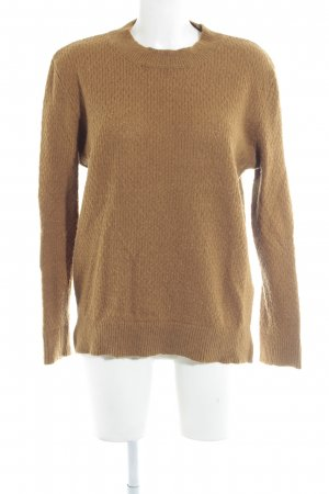 Selected Wollpullover camel Zopfmuster Casual-Look