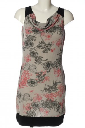 Selection by s.oliver Minikleid hellgrau-schwarz Blumenmuster Casual-Look