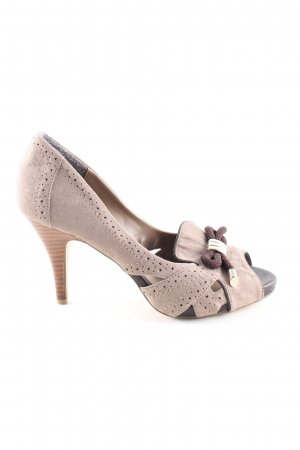 Selection by s.oliver Peeptoe Pumps wollweiß-braun Elegant