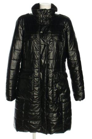 Selection by s.oliver Pikowany płaszcz czarny Pikowany wzór W stylu casual