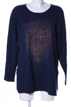 Selection by Ulla Popken Rundhalspullover blau-hellorange Motivdruck Casual-Look