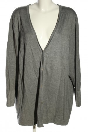 Selection by Ulla Popken Strickjacke hellgrau meliert Casual-Look