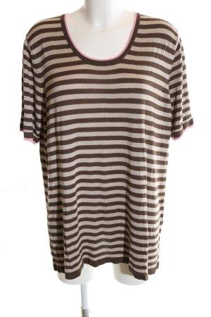Selection by Ulla Popken T-Shirt braun-wollweiß Streifenmuster Casual-Look