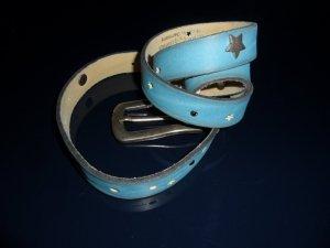 Selection Vanzetti Ledergürtel, echtes Leder,blau/aqua Gr.90, Sterne+Strass, NEU