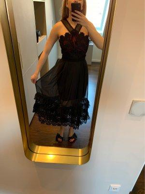 self - portrait Vestido de noche negro-burdeos