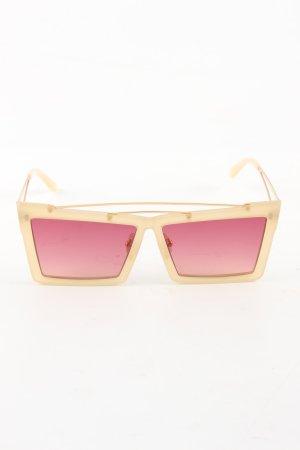 self - portrait Lunettes de soleil angulaires crème-rose élégant
