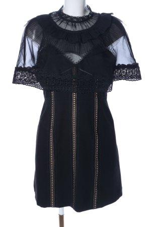 self - portrait Trägerkleid schwarz-creme Streifenmuster Elegant