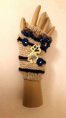 Fingerless Gloves nude-blue