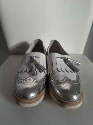 Tamaris Moccasins silver-colored-white leather