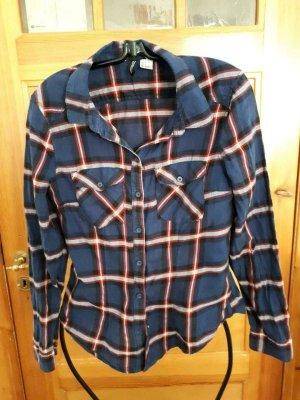 H&M Camisa de leñador azul oscuro-rojo oscuro Algodón