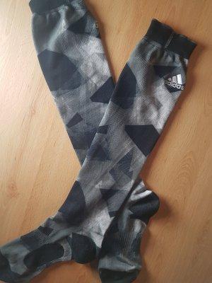 Seltene Adidas Stulpen Socken kniehoch grau mit geometrischen Mustern 39-42 Climalite