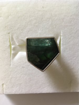 Statement Ring silver-colored-dark green