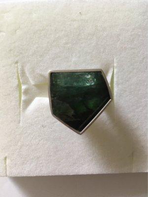 Bague incrustée de pierres argenté-vert foncé
