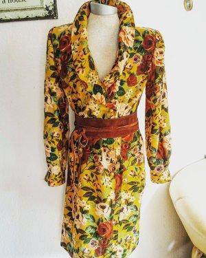 Seltenes Emanuel Ungaro Vintage Kleid Mantelkleid 70er Blumenkleid Senfgelb gr 36 38
