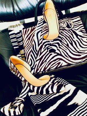 Christian Dior Borsa telaio nero-bianco Tessuto misto