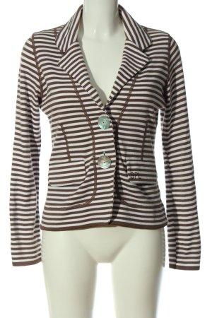 Sem per lei Jersey Blazer blanco-marrón estampado a rayas elegante