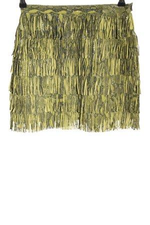 Sem Vaccaro Jupe en cuir vert-noir motif animal style décontracté