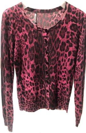 SEMPERLEI - Kaschmir - Strick - Cardigan - Leo-Muster - Gr. 38 - pink/schwarz/rosé ++ sehr cool und stylisch ++