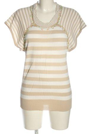 SEMPRE Kurzarm-Bluse weiß-creme Streifenmuster Casual-Look