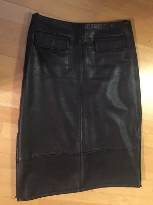 SEMPRE Leather Skirt dark brown