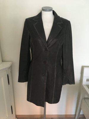 SEMPRE Abrigo de cuero gris-gris oscuro Cuero