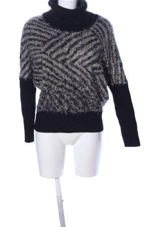 SEMPRE Rollkragenpullover schwarz-wollweiß grafisches Muster Casual-Look