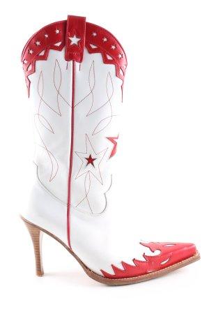 Sendra Westernstiefel weiß-rot Casual-Look