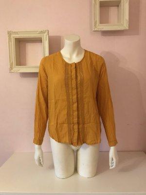 Senfgelbe Langarm Bluse mit Spitzendetails von Zara
