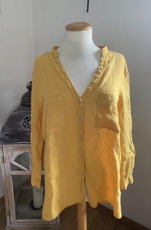 Zara Blouse en lin brun sable-orange doré lin