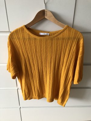 Mango Camisa tejida naranja dorado