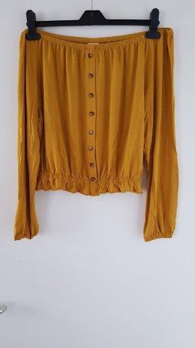 H&M Camisa tipo Carmen marrón arena-naranja dorado