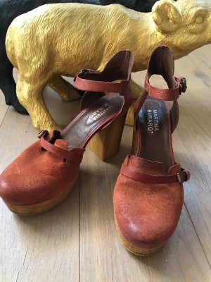 Martina Buraro Clog Sandals cognac-coloured leather