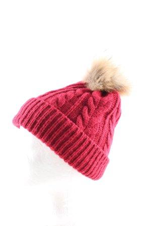 Cappello con pon pon rosso punto treccia stile casual