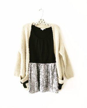sequin • pailletten kleid • vintage • silber • schwarz • boho